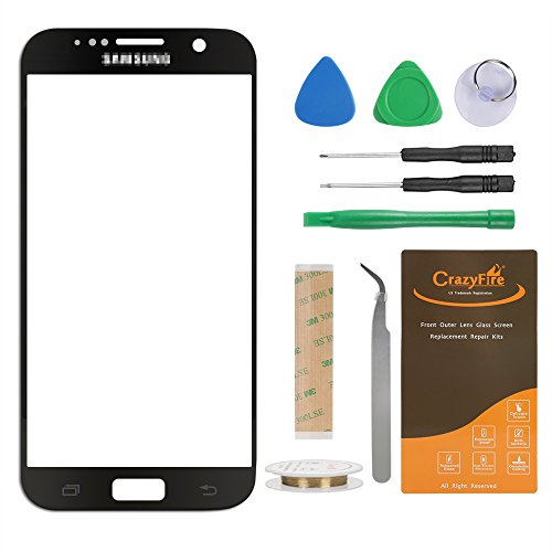 CrazyFire Compatible with Samsung Galaxy S7 Lens Glass Screen Replacement,Screen Lens Glass Cover Replacement for S7 G930A G930F G930FQ G930K with Adhesive and Tool Kit(Black)
