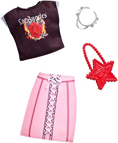 Barbie Complete Looks Doll Clothes, Outfit for Barbie Dolls with La T-Shirt, Pink Lace-Up Pencil Skirt and 2 Accessories for Barbie Dolls, Gift for 3 to 7 Year Olds