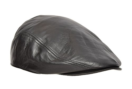 House Of Leather Gorra Plana de Cuero Suave Real Taxista Gatsby Caza Noticias Chico Sombrero Negro (59/ L)