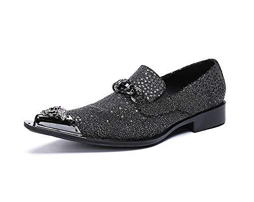 Zapatos para hombres Piel de metal con punta estrecha Cantante de roca...