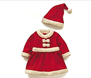 Baby Girls Santa Claus Costume Dress Hat for Christmas Baby Outfit Suit Cosplay Set (90)