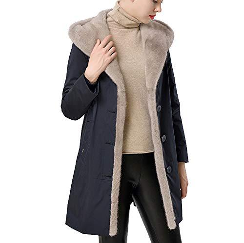 Byfjkkl Abrigo con capucha para mujer con forro de felpa extraíble, abrigo cálido, color azul oscuro, M