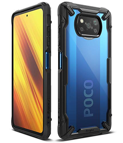 Ringke Fusion-X Compatible con Funda Xiaomi Poco X3 NFC (2020), Compatible con Funda Xiaomi Poco X3 Pro (2021), Transparente Carcasa Parachoque Antigolpes TPU - Black