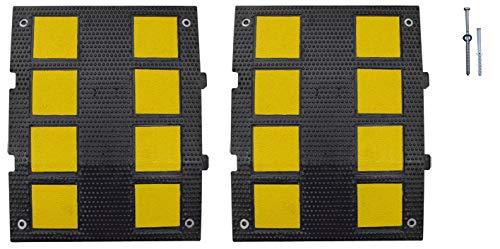 Kit de 2 bandas reductoras de velocidad de caucho 600x470x 30mm. Badén reductor de velocidad de calle. Incluye tornillería