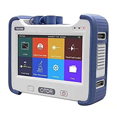 OTDR Tester SM 1310/1550nm 32/30dB with SC FC ST LC Adapters, Multi-function Fiber Optic Tools OTDR +OPM+VFL+OLS+Event Map, 7-inch Touch Screen One Key Operation (Blue)
