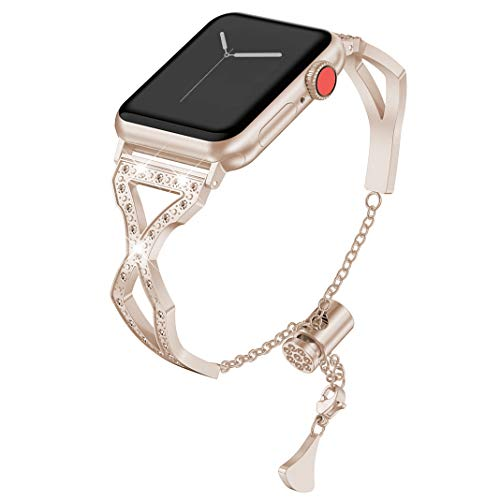 Compatible con Apple Watch Bracelet 38mm 40mm, Metalica Correa De Repuesto Acero Inoxidable Pulsera Mujer Diamante Jewelry Cuff Brazalete Bandas Compatible con iWatch Correa Series 5/4/3/2/1, Oro Rosa