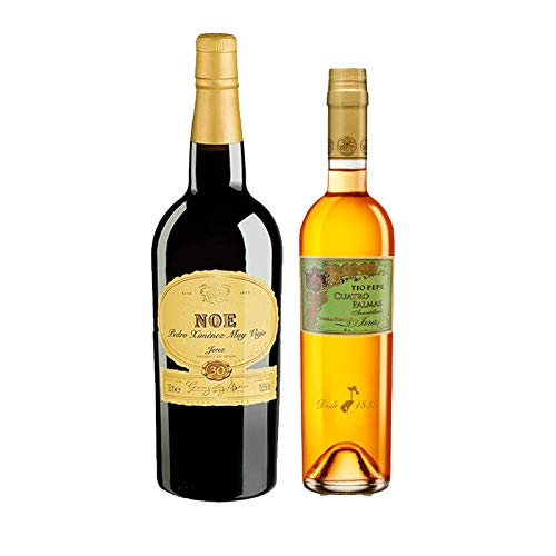 Vinos Fino Cuatro Palmas y Pedro Ximenez Noe - D.O. Jerez - Mezclanza Gonzalez Byass (Pack de 2 botellas)
