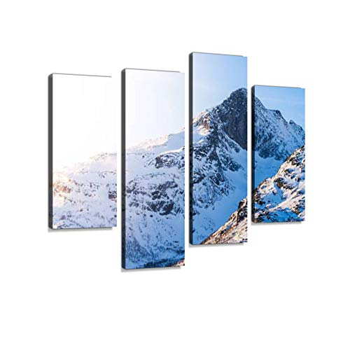 Snow Mountains, Troms Canvas Wall Art Hanging Paintings Modern Artwork Abstract Picture Prints Home Decoration Gift Unique Designed Framed 4 Panel