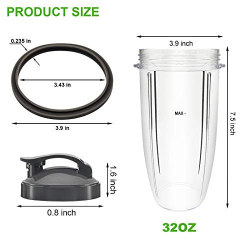 2 Packs Replacement Cups 32 oz with Lids for Original NutriBullet Blender Pro 900w 600w For Nutri Bullet blade Replacement Parts with 2 Extra Rubber Gaskets Ring Seal Juicer Pitcher Mixer Jar