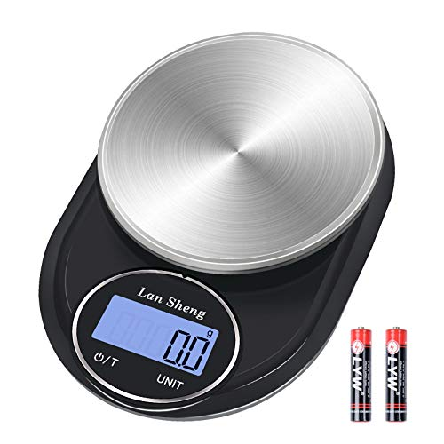 Food Scale - LanSheng 5000g01g Digital Kitchen Scale Weight Grams and oz for Cooking Baking and Weight Loss,7 UnitAdjustable Shutdown Time HD LCD Stainless Steel Batteries Included