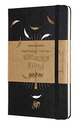 Moleskine Taccuino Harry Potter in Edizione Limitata, Notebook a Righe con Grafica e Dettagli a Tema Wingardium Leviosa, Copertina Rigida, Formato Large 13 x 21 cm, Colore Nero, 240 Pagine