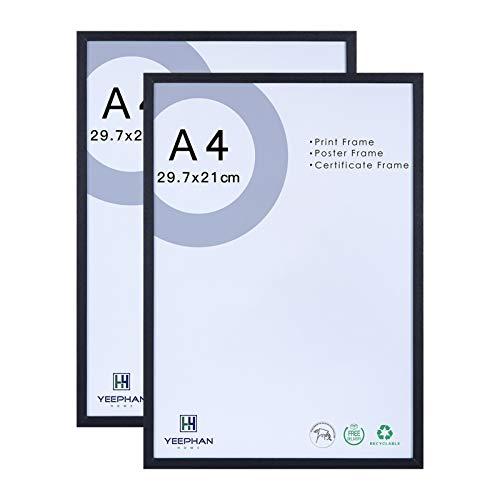 A4-Zertifikat Fotorahmen aus Massivholz mit Plexiglas-Sicherheitsglasfront, 21 x 30 cm schwarzer Bilderrahmen für Wohn- und Wanddekoration, freistehend und an der Wand montierbar, 2er-Set
