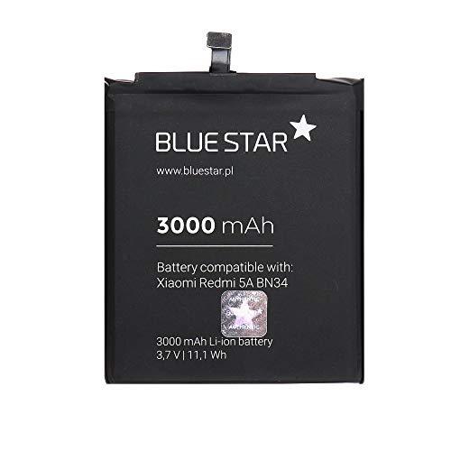 Blue Star Premium - Batería de Li-Ion Litio 3000 mAh de Capacidad Carga Rapida 2.0 Compatible con el Xiaomi Redmi 5A (BN34)
