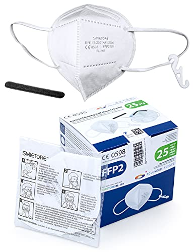 Polonord Adeste 25 Mascarillas FFP2 de 5 capas sin válvula envueltas individualmente con certificación CE 0598 y conformes a la norma UNI EN 149:2001+A1:2009   BFE en simulación de uso 99,5%