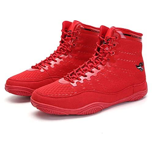 Zapatos de boxeo, Transpirable Botas de Lucha Libre Antideslizante Boxers Entrenadores Ejercicio Fitness Escalada Botas, Red, 41 1/3 EU