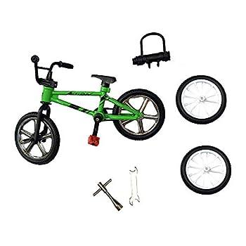 BMX Toys Alloy Finger BMX Functional Kids Bicycle Finger Bike Mini-Finger-BMX Set…  Green