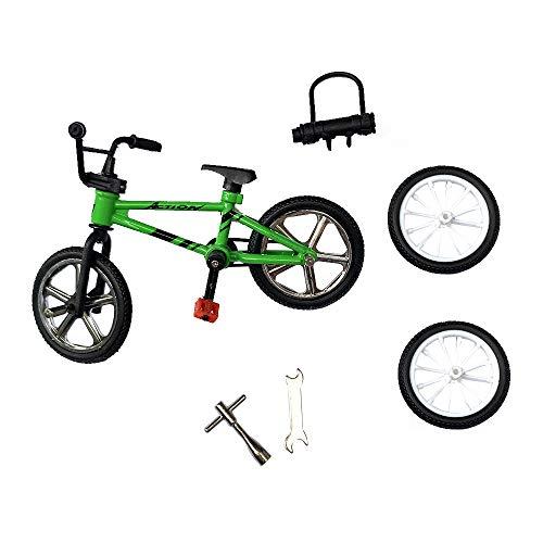 BMX Toys Alloy Finger BMX Functional Kids Bicycle Finger Bike Mini-Finger-BMX Set… (Green)