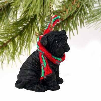 Shar Pei en miniatura Adorno de perro–negro by conversación concepts