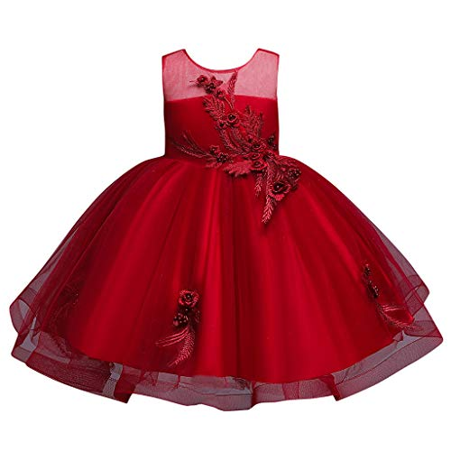 Vestido de fiesta para bebé de Sunnymi, con flores, princesa, dama de honor, fiesta de cumpleaños, boda rojo 5 años