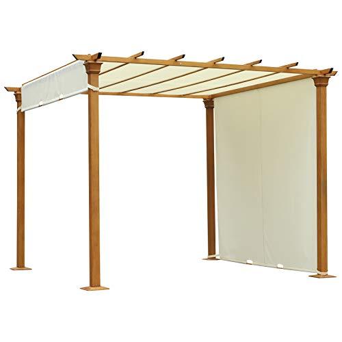 Outsunny Pavillon, Pergola mit einstellbarem Stoffdach, Überdachung, Wasserfest, Sonnenschutz, Polyester, Beige, 295 x 295 x 220 cm