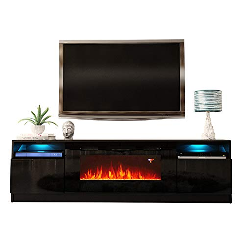 """MEBLE FURNITURE & RUGS York 02 Electric Fireplace Modern 79"""" TV Stand"""