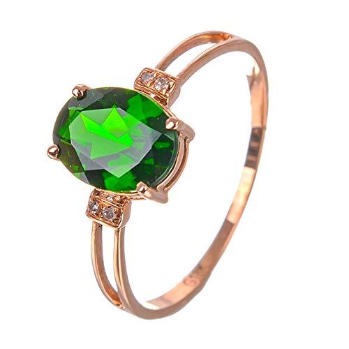 Ubestlove Partnerringe Rosegold Ovale Mulde Damen Ringe Verstellbar Chromdiopsid Ringe Größe 52