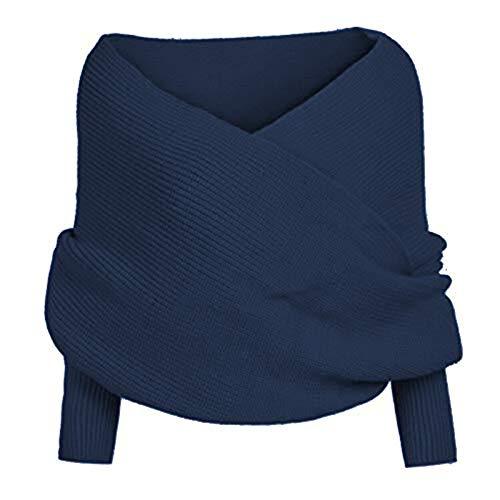 FILWO Damen Mode Schal Strickpullover Damen Strickschal Loop Schal mit Ärmel Wrap Herbst Winter Warme Schal,Grau,Blau,Rot,Schwarz,Beige