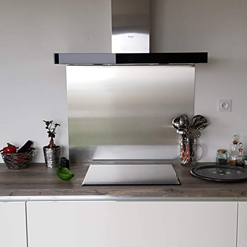 AluCouleur Küchenrückwand aus gebürstetem Edelstahl – 10 Größen – Höhe 60 cm x, Largeur 70 cm