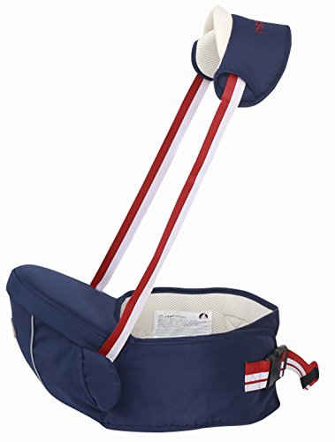 Gabesy - Portabebes Asiento para Bebes de la Cadera con Tirantes de Cuello Cintura Ajustable Transpirable Cómoda Hebilla Resistente bebé de 4-36 meses - Azul Oscuro