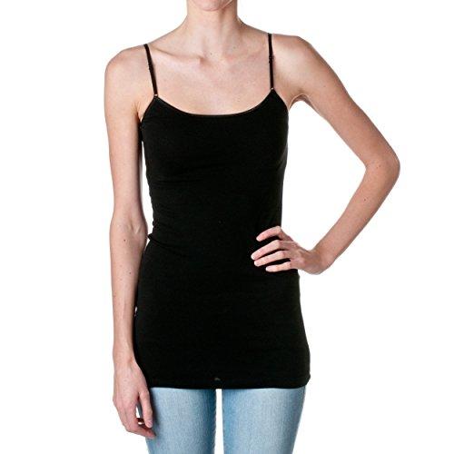 Hollywood Star Fashion Plain Long Spaghetti Strap Tank Top Camis Basic Camisole Cotton, Black, m