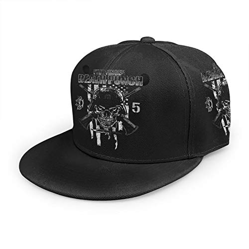 Five Finger De-Ath Pu-NCH Baseball Cap,Men Solid Flat Bill Adjustable Snapback Hats Unisex,Perfect for Running Workouts and Outdoor Black