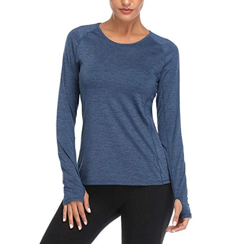 VUTRU Camiseta Deportiva Mujer Tops de Manga Larga de Running Camisetas de Yoga con Orificios para Los Pulgares Azul L