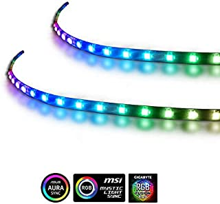 Extended Computer Magnetic 5V 3 Pin PC LED Strip - 2 PCS RGB PC LED Strip Light for ASUS Aura SYNC/MSI Mystic Sync/ASROCK Aura RGB/GIGABYTE RGB Fusion (5V 3 Pin addressable LED headers ONLY)