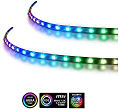 Extended Computer Magnetic 5V 3 Pin LED Strip - 2PCS RGB LED Strip Light for ASUS AURA SYNC / MSI Mystic Sync / ASROCK AURA RGB / GIGABYTE RGB Fusion (5V 3 Pin addressable LED headers ONLY)