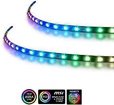 Extended Computer Magnetic 5V 3 Pin LED Strip - 2PCS RGB LED Strip Light for ASUS AURA SYNC / MSI Mystic Sync / ASROCK AURA RGB / GIGABYTE RGB Fusion (5V 3 Pin addressable LED headers ONLY)