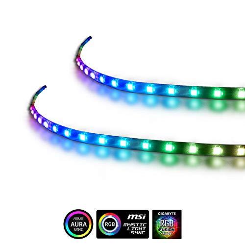 Anidees Tira LED direccionable magnética extendida de 5 V para ASUS Aura Sync, MSI Mystic Light Sync - RGB 2PCS