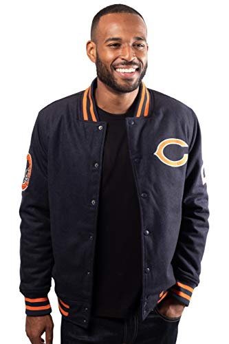 Ultra Game NFL Chicago Bears Mens Classic Varsity Coaches Jacket, Team Color, Large