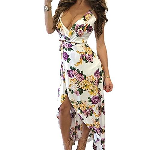 MPUOYHK Vestido de verano con cuello en V para mujer, talla grande, sin mangas, bohomian, floral, sexy, de cintura alta, a, XX-Large