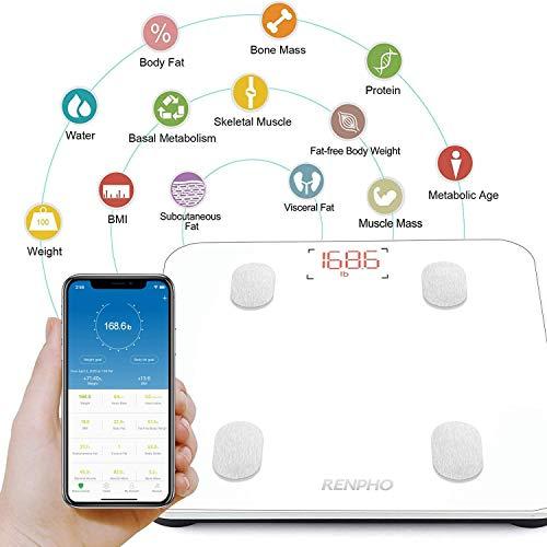 RENPHO Bilancia Digitale Bilancia Pesapersone, Impedenziometrica Intelligente Bluetooth, 13 Funzioni, Analisi Composizione Corporea con App per Massa Grassa, BMI, Grasso Viscerale, Bianca