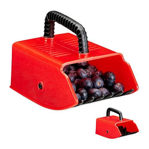 Relaxdays 2 x Beerenpflücker, Erntehelfer, Kunststoff, für Heidelbeeren, Johannisbeeren, Blaubeeren, Beerenkamm, rot/schwarz