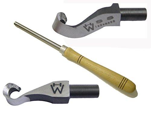 Wiedemann Ausdrehhaken groß gerade und groß gekröpft mit Ø16mm Halterstange für Drechsler/Woodturner