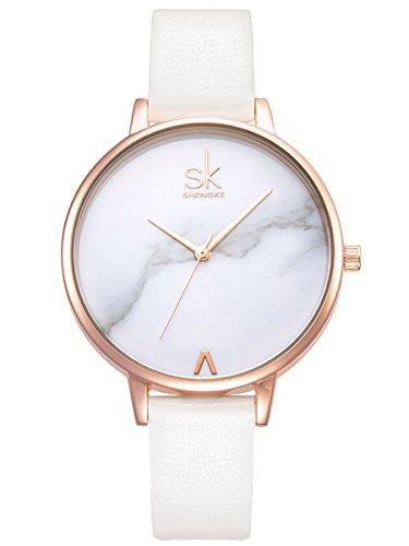 Alienwork Reloj Mujer Oro Rosa Pulsera de Cuero Blanco Ultra-Delgada Elegante