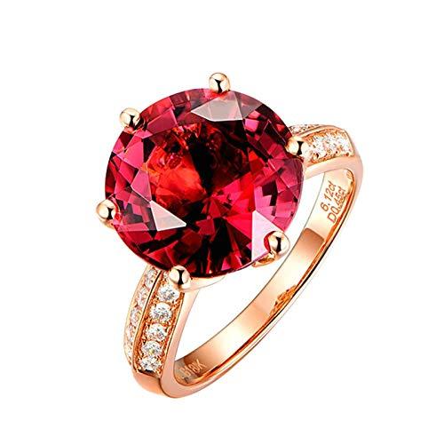Bishilin Oro Rosa 18K Anillo de Boda Rojo Turmalina Turmalina de 6.1Ct con Incrustaciones Y Diamante de 0.48Ct Rosa Dorado Rojo Anillo de Compromiso Anillo de Matrimonio Talla:23,5