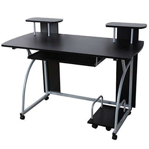 VASAGLE Schreibtisch Computertisch mit Rollen PC Tisch mit Tastaturauszug 2 Regale 120 x 59 x 90 cm LCD812B