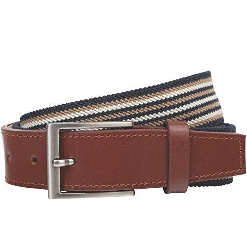 LINDENMANN - Cintura in pelle da uomo, 149 blu/beige multicolore 110 cm