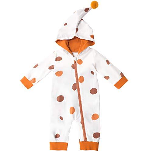 Sudadera con Capucha para Bebé Recién Nacido Mono De Lunares Mameluco con Cremallera Manga Larga para Bebés Niños Niñas De 0-12 Meses