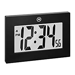 Marathon Large Digital Wall Clock with Fold-Out Table Stand. Size is 9 inches with Big 3.25 Inch Digits - Batteries Included - CL030064BK (Black)