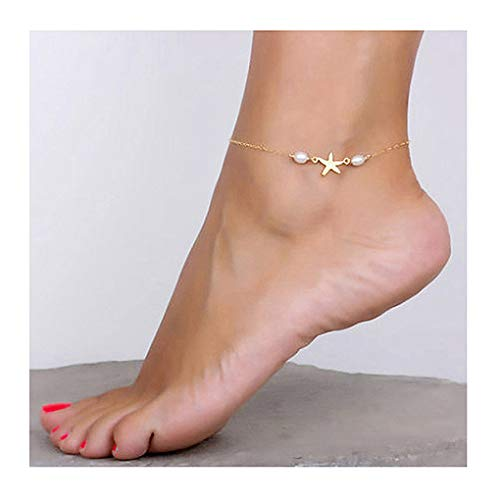 Yalice Dainty Starfish Anklets Pearl Ankle Bracelet Beach Foot Jewelry for Women and Girls (Gold)