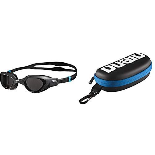 ARENA Unisex Training Freizeit Schwimmbrille The One (UV-Schutz), schwarz (Smoke-Grey-Black (545), One Size & Unisex Schwimmbrillenetui, Schwarz / Weiß / Royal, Einheitsgröße