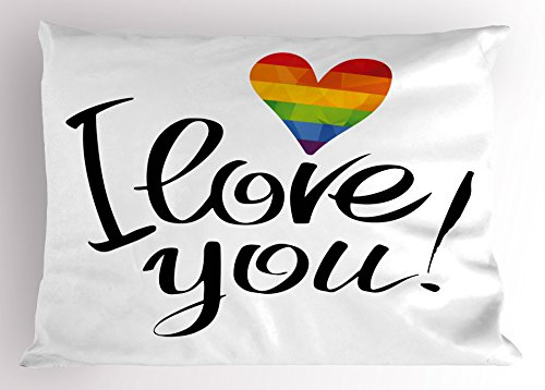 Ambesonne Pride Pillow Sham, I Love You Letters with Polygonal Effect Rainbow Color Heart Gay Lesbian Couples, Decorative Standard Size Printed Pillowcase, 26' X 20', Black Rainbow